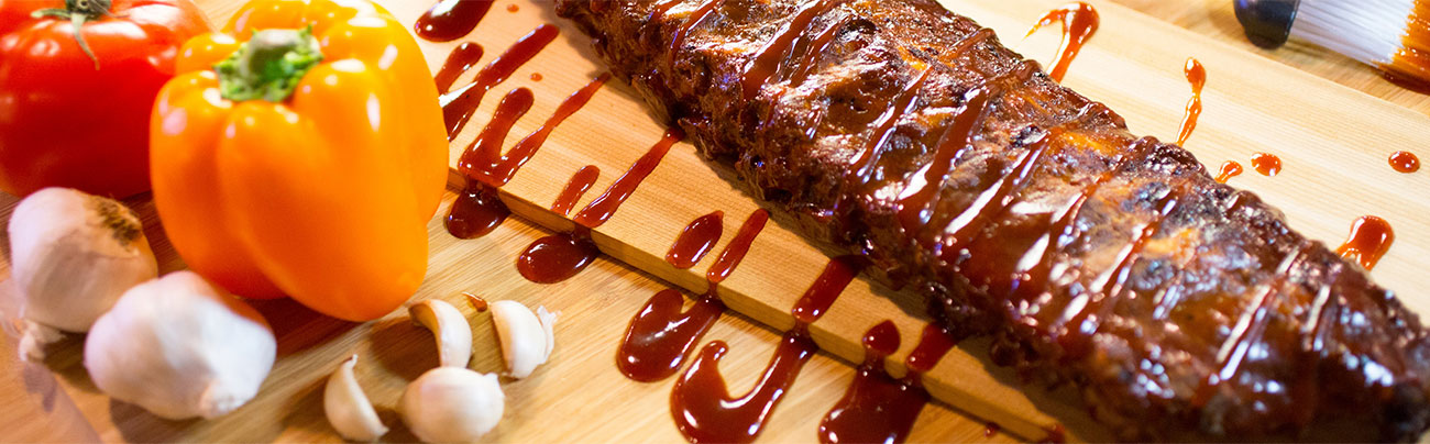 rack of ribs with sauce